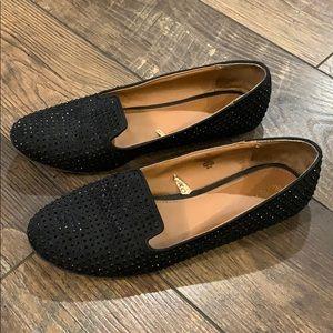 Black Rhinestone Loafers